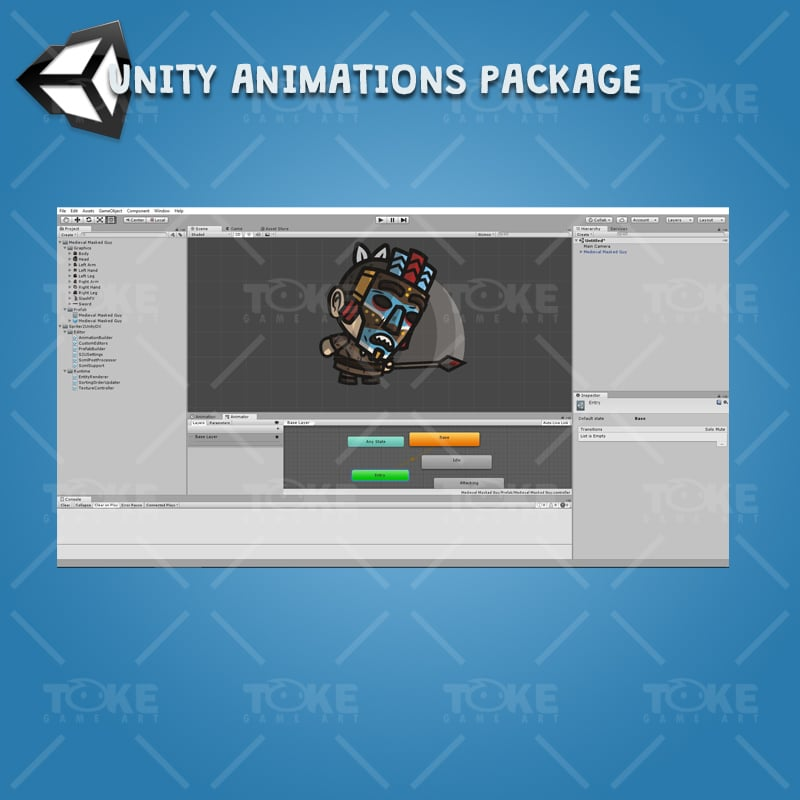 Medieval Masked Guy - Unity Character Animation Ready with Spriter2UnityDX Tool