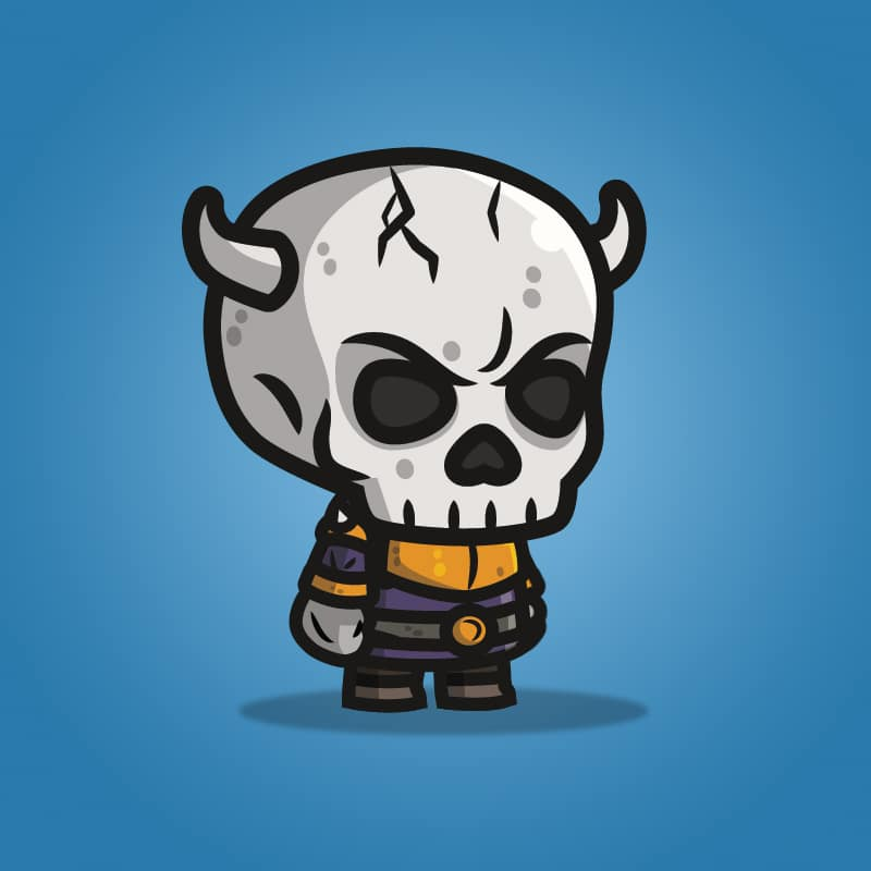 Evil Skull Knight - 2D Character Sprite for Indie Game Developer