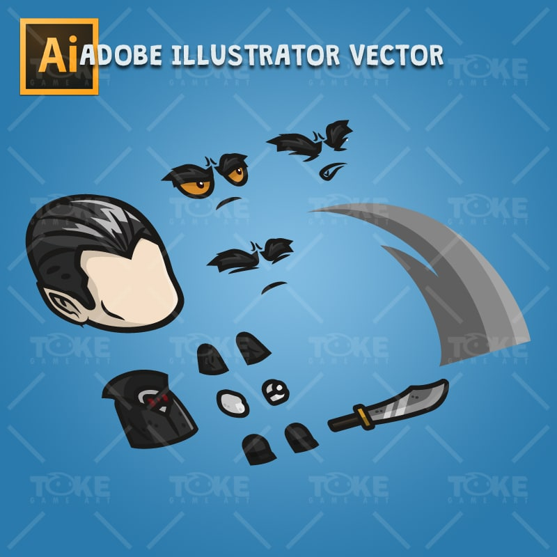 Vampire - Adobe Illustrator Vector Art Based Character Body Parts