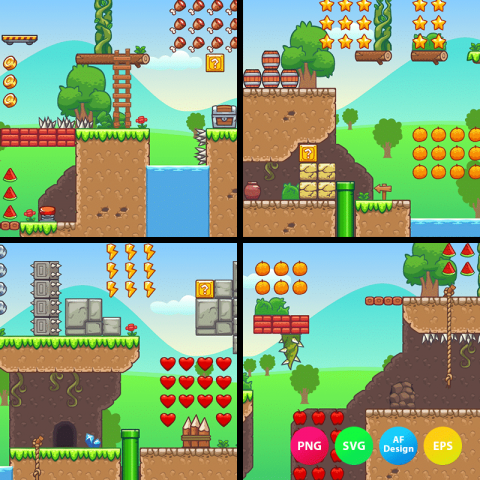 Seamless hill platformer tileset is a set of 2D game tile sets. Perfect for 2D side scrolling adventure games. TokeGameArt - 2D Side Scrolling Game Assets