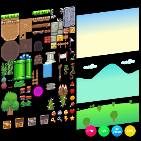 Seamless hill platformer tileset is a set of 2D game tile sets. Perfect for 2D side scrolling adventure games. TokeGameArt - Vector Art Based