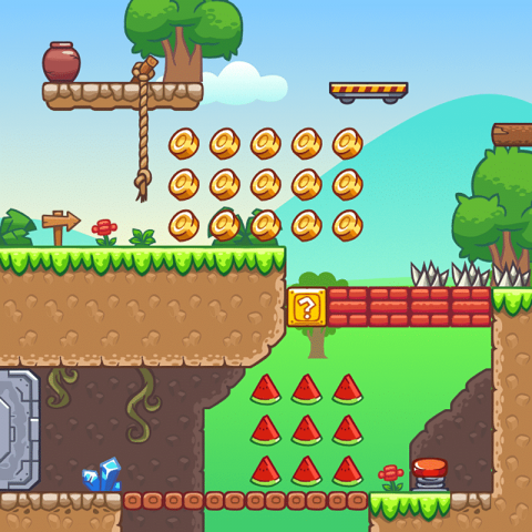 Seamless Hill Platformer Tileset - 2D Game Tileset for Indie Game Developer
