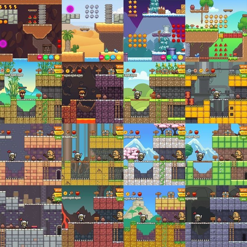 2D Platformer Game Tileset Mega Bundle - Royalty Free Game Assets
