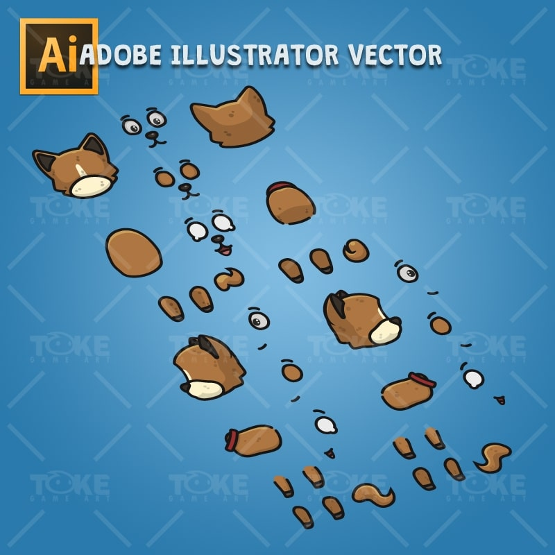 4 Directional Brown Dog - Adobe Illustrator Vector Art Based Character Body Parts