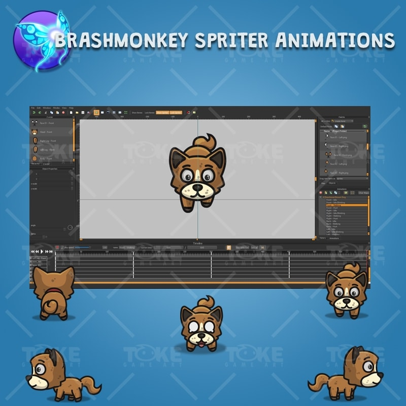 4 Directional Brown Dog - Brashmonkey Spriter Character Animations