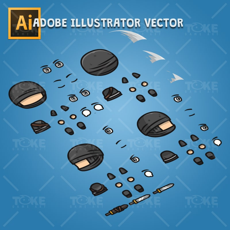 4 Directional Ninja - Adobe Illustrator Vector Art Based Character Body Parts