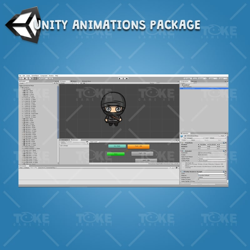 4 Directional Ninja - Unity Character Animation Ready with Spriter2UnityDX Tool