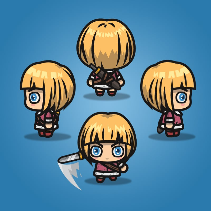 4 Directional Warrior Girl - 2D Character Sprite for Indie Game Developer