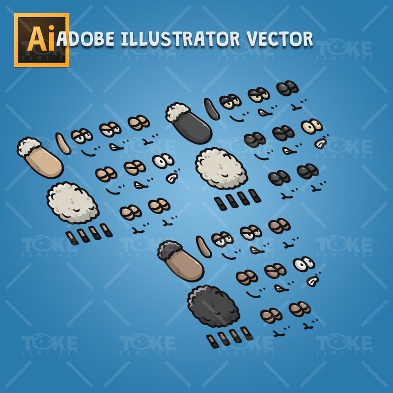 Cartoon Sheep - Adobe Illustrator Vector Art Based Character Body Parts