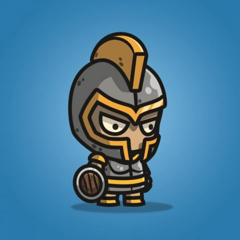 Heavy Armored Defender Knight - 2D Character Sprite for Indie Game Developer