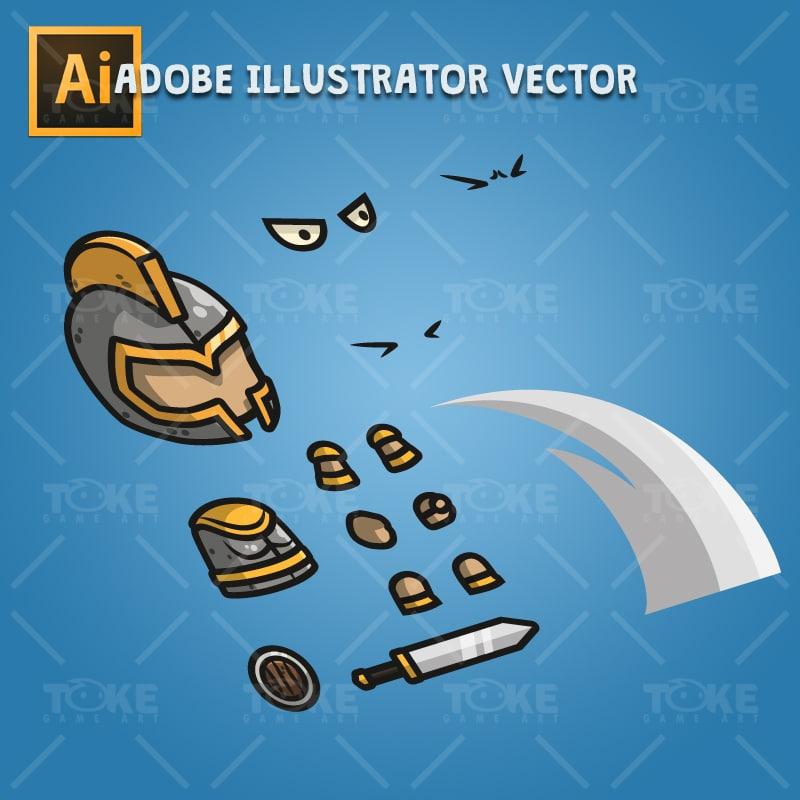 Heavy Armored Defender Knight - Adobe Illustrator Vector Art Based Character Body Parts