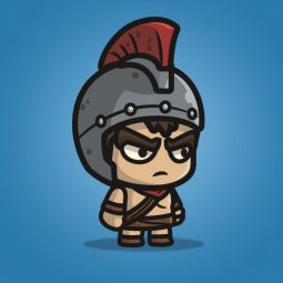 Spartan Knight with Spear - 2D Character Sprite for Indie Game Developer