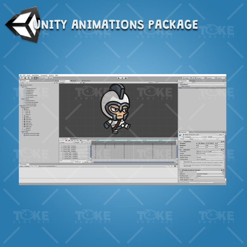 White Armored Kngiht - Unity Character Animation Ready with Spriter2UnityDX Tool