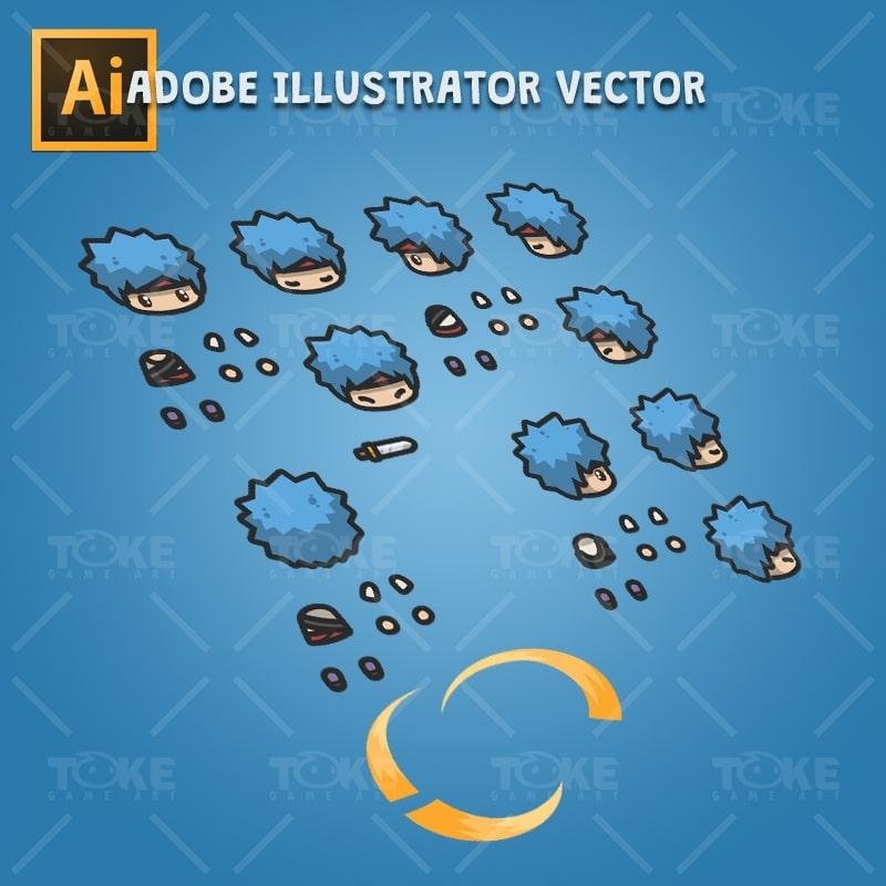 4 Directional Blue Hair Guy - Adobe Illustrator Vector Art Based Character Body Parts