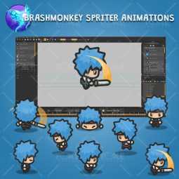 4 Directional Blue Hair Guy - Brashmonkey Spriter Character Animations