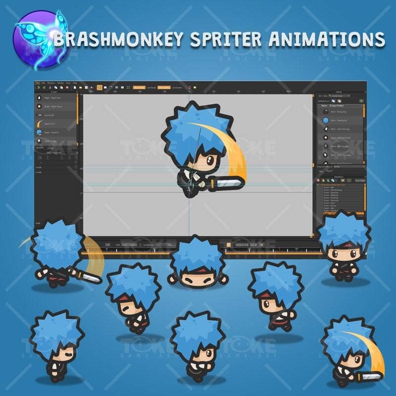 4 Directional Blue Hair Guy - Brashmonkey Spriter Character Animations