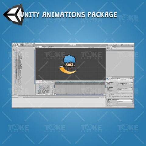4 Directional Blue Hair Guy - Unity Character Animation Ready with Spriter2UnityDX Tool