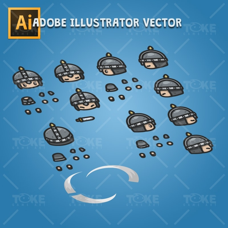 4 Directional Castle Guard - Adobe Illustrator Vector Art Based Character Body Parts