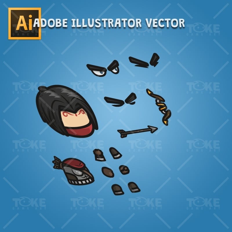 Archer Guy - Adobe Illustrator Vector Art Based Character Body Parts