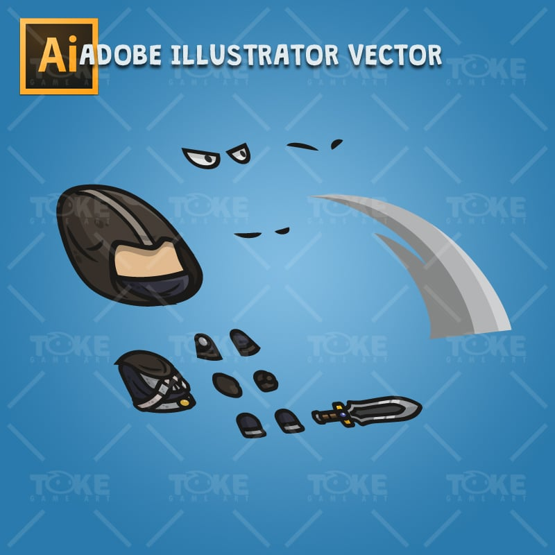 Assassin Guy - Adobe Illustrator Vector Art Based Character Body Parts
