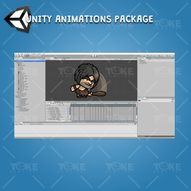 Caveman Guy - Unity Charcater Animation Ready with Spriter2UnityDX Tool