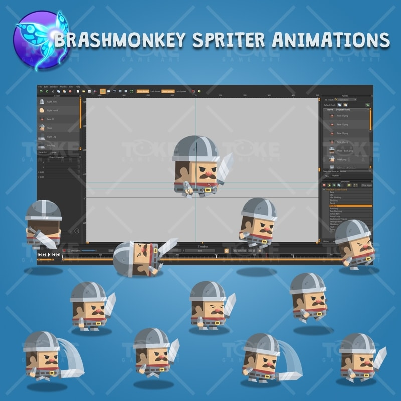 Flat Style Castle Guard - Brashmonkey Spriter Character Animations
