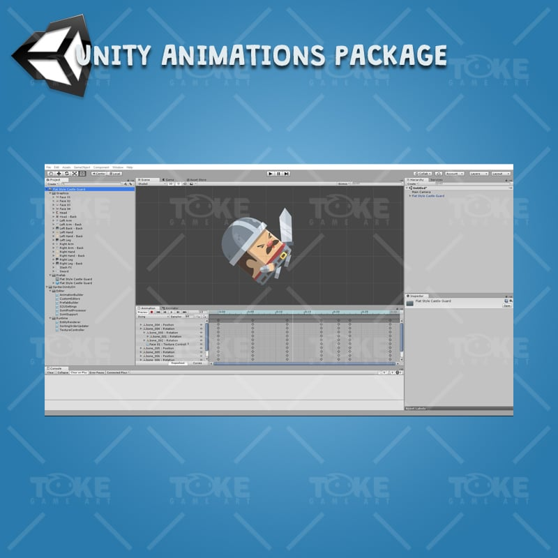 Flat Style Castle Guard - Unity Character Animation Ready with Spriter2UnityDX Tool