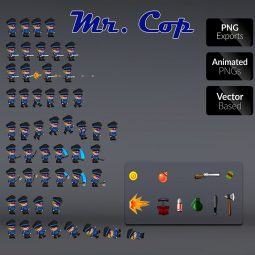 Mr Cop 01 - 2D Charcater Sprire for Indie Game Developer