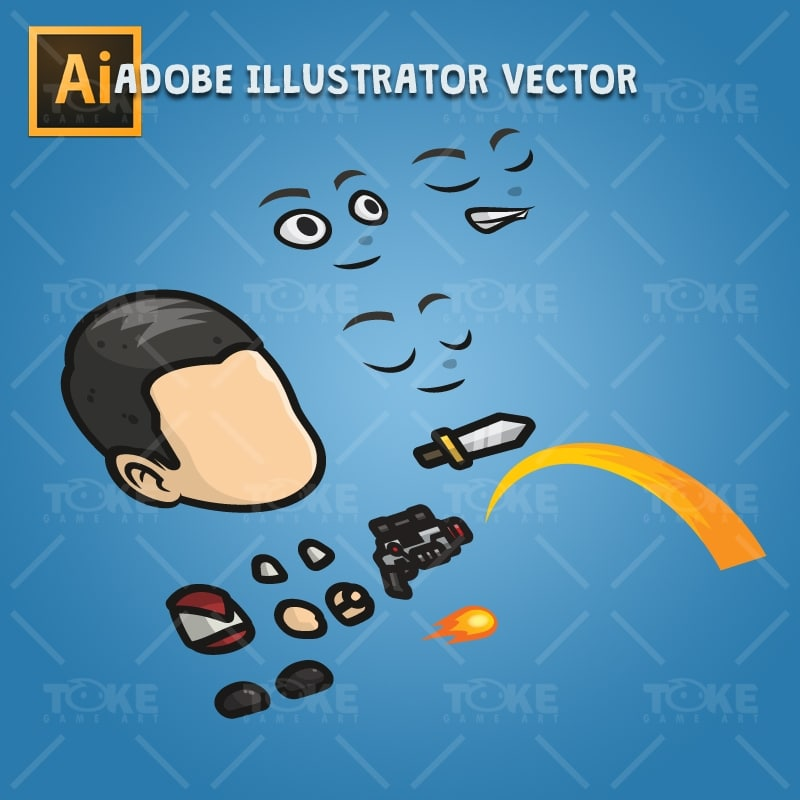 Adventurous Guy 01 - Adobe Illustrator Vector Art Based Character Body Parts