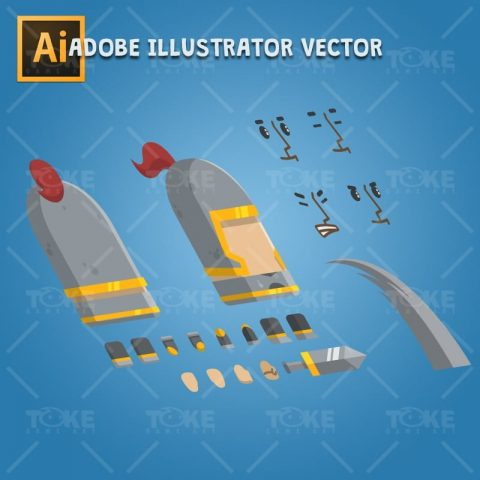 Flat Style Medieval Knight - Adobe Illustrator Vector Art Based Character Body Parts
