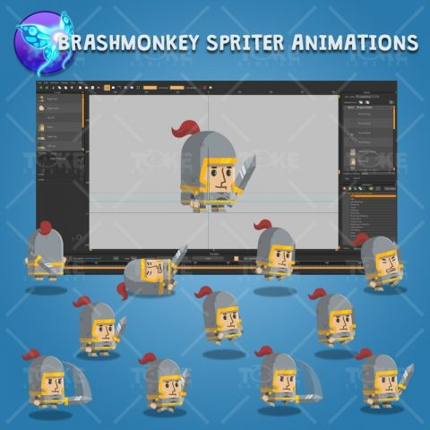 Flat Style Medieval Knight - Brashmonkey Spriter Character Animation