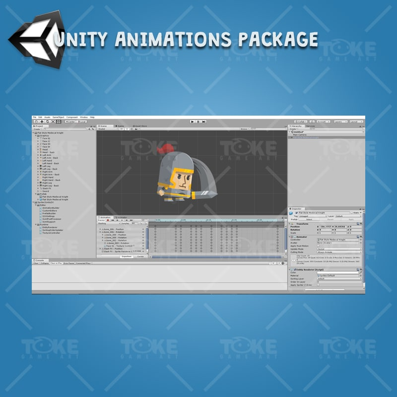 Flat Style Medieval Knight - Unity Character Animation Ready with Spriter2UnityDX Tool