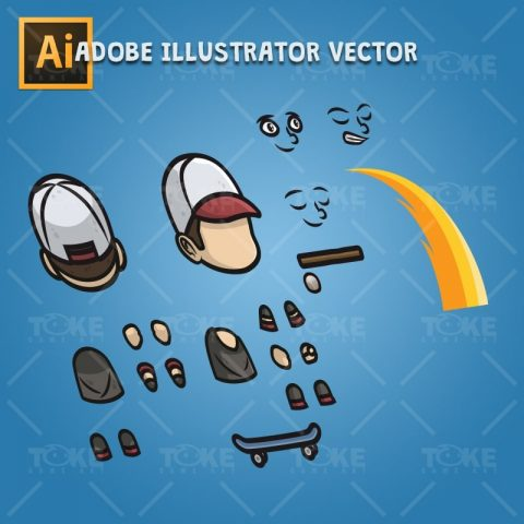 Teenager Skater Guy - Adobe Illustrator Vector Art Based Character Body Parts