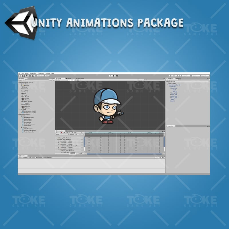 Adventurous Guy 02 - Unity Character Animation Ready with Spriter2UnityDX Tool