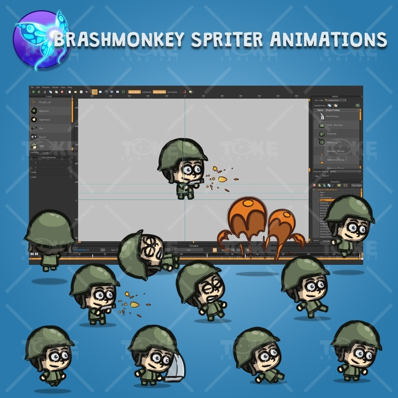 Cartoon Little Army 01 - Brashmonkey Spriter Character Animations