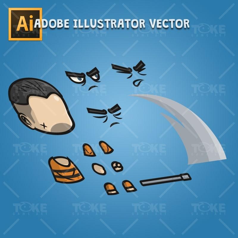 Chibi Prisoner Guy - Adobe Illustrator Vector Art Based Character Body Parts