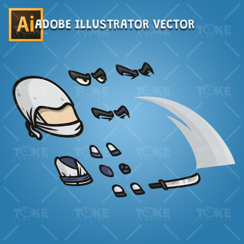White Ninja - Adobe Illustrator Vector Art Based Character Body Parts