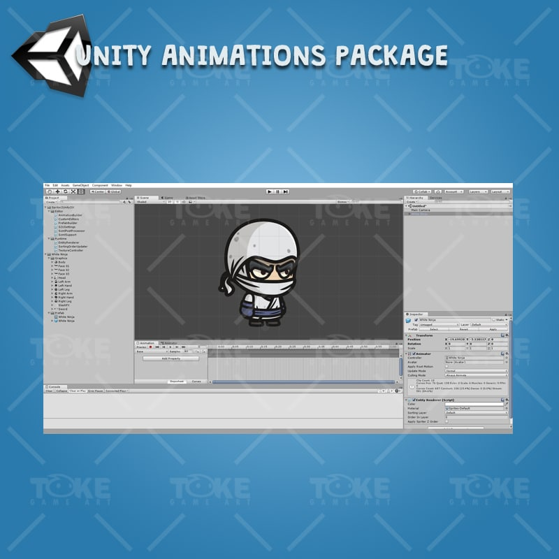 White Ninja - Unity Character Animation Ready with Spriter2UnityDX Tool