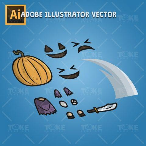 Pumpkin Head Guy - Adobe Illustrator Vector Art Based Character Body Parts