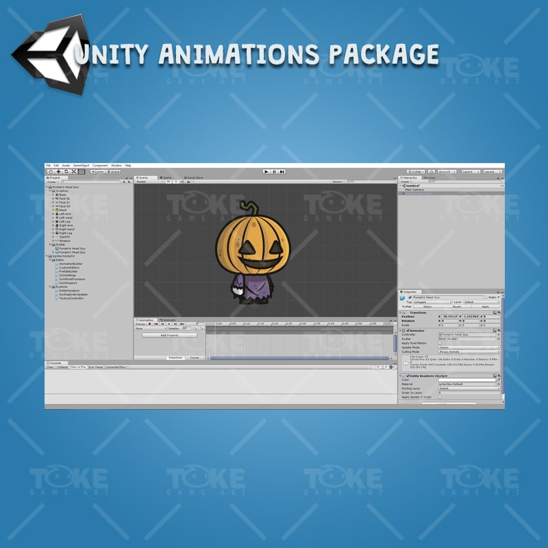 Pumpkin Head Guy - Unity Character Animation Ready with Spriter2UnityDX Tool