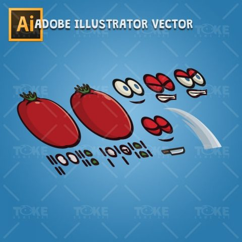 Tomato Guy - Adobe Illustrator Vector Art Based Character Body Parts