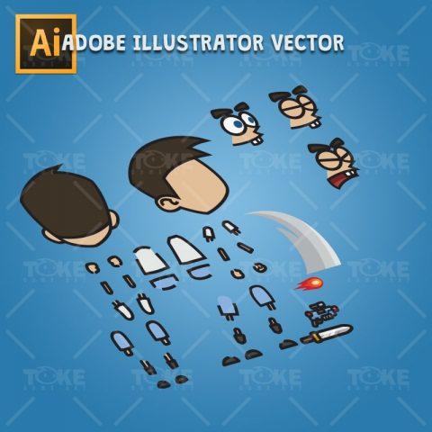 Cartoon Boy with Laser Gun - Adobe Illustrator Vector Art Based Character Body Part