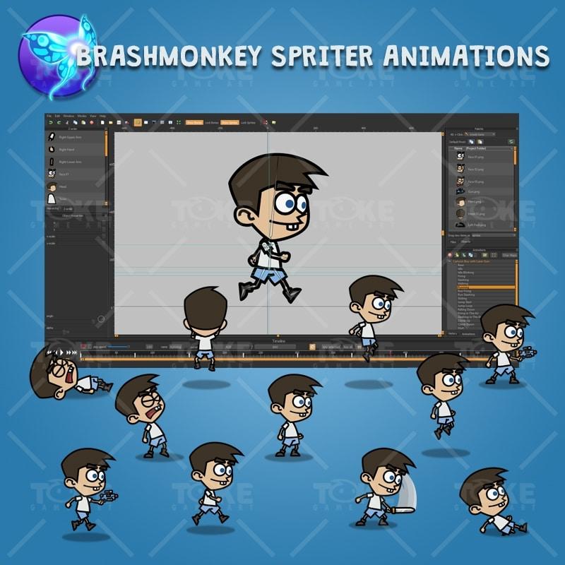 Cartoon Boy with Laser Gun - Brashmonkey Spriter Character Animations
