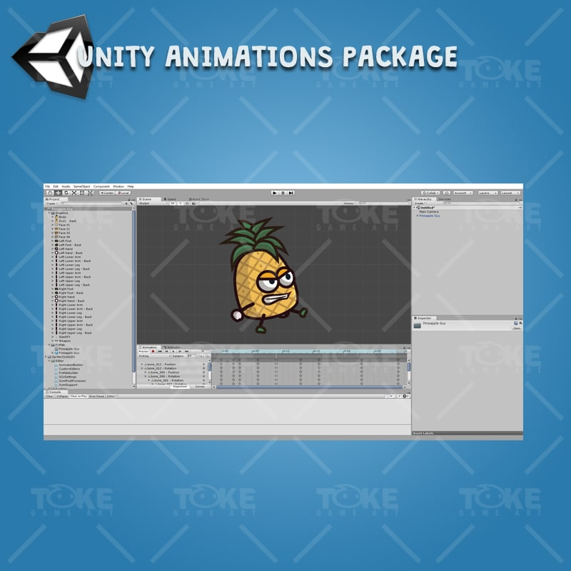 Pineapple Guy - Unity Character Animation Ready with Spriter2UnityDX Tool