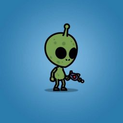 Cartoon Green Skinned Alien - 2D Character Sprite