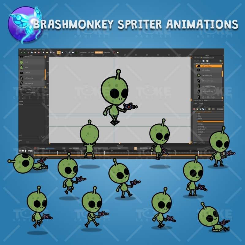 Cartoon Green Skinned Alien - Brashmonkey Spriter Character Animation