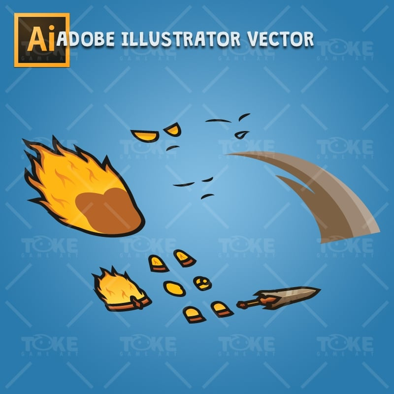 Fire Element Knight - Adobe Illustrator Vector Art Based Charcater Body Parts
