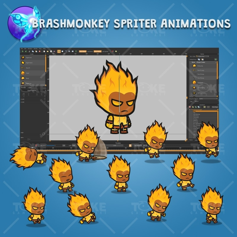 Fire Element Knight - Brashmonkey Spriter Character Animation