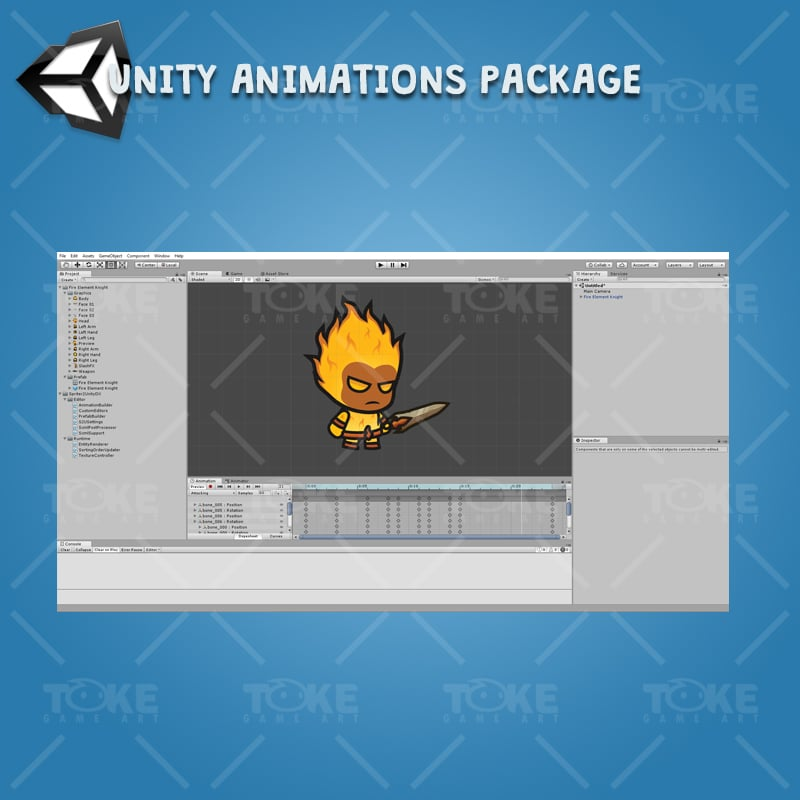 Fire Element Knight - Unity Character Animation with Spriter2UnityDX Tool