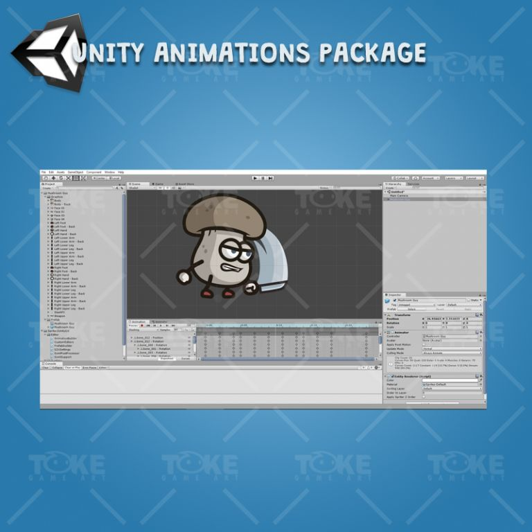 Mushroom Guy - Unity Character Animation Package with Spriter2UnityDX Tool